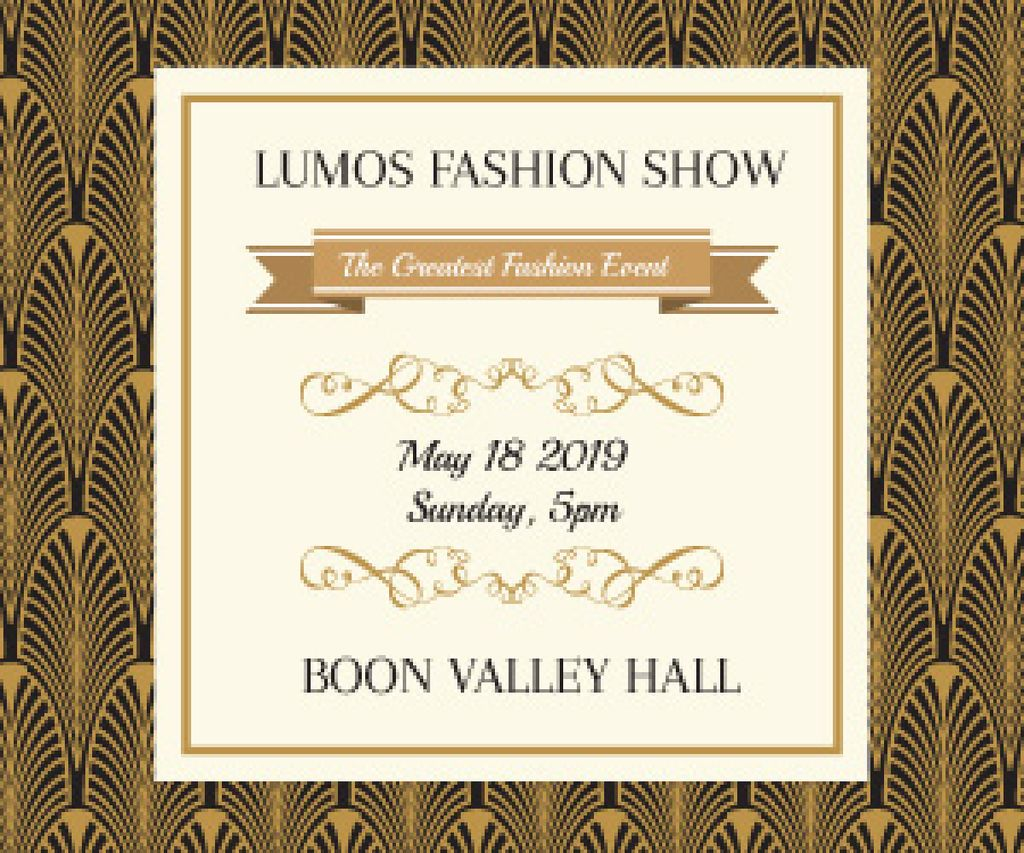 Fashion Show Invitation Golden Art Deco Pattern — Crear un diseño