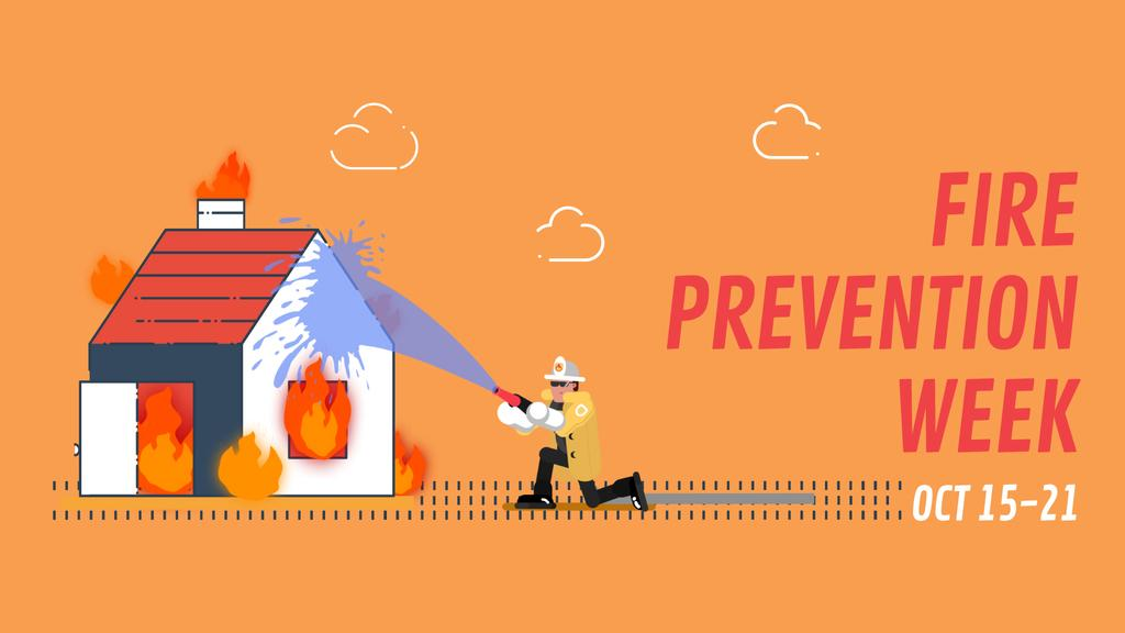 Firefighter Extinguishes a Burning House | Full Hd Video Template — ein Design erstellen