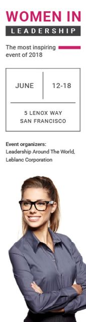 Business Event Announcement Smiling Businesswoman Skyscraper Design Template