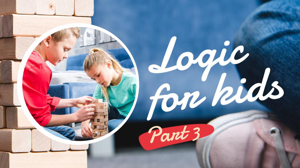 Courses for Kids Children Playing Blocks Game | Youtube Thumbnail Template — Modelo de projeto