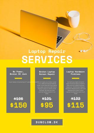 Gadgets Repair Service Offer with Laptop and Headphones Posterデザインテンプレート