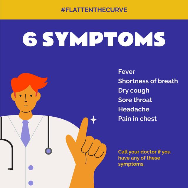 Ontwerpsjabloon van Instagram van #FlattenTheCurve Coronavirus symptoms with Doctor's advice