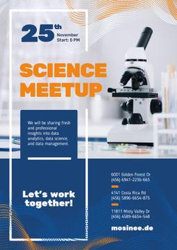 Science Event Announcement Microscope in Lab