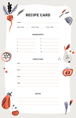 Plantilla de diseño de Vegetables and Fruits illustrations Recipe Card