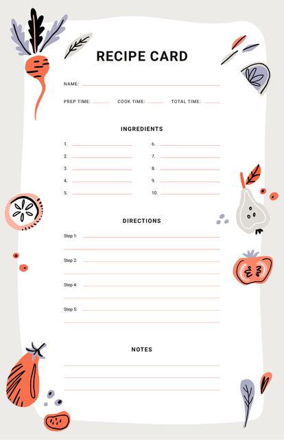 Vegetables and Fruits illustrations Recipe Card Tasarım Şablonu