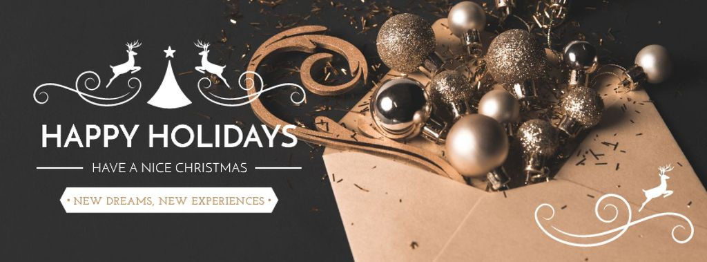 Plantilla de diseño de Merry Christmas Bright greeting Facebook cover