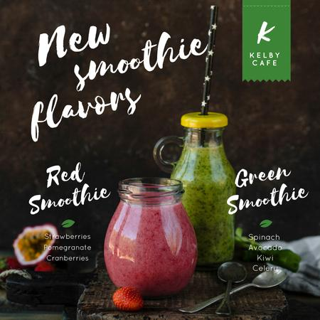 Healthy nutrition offer with Smoothie bottles Animated Post Tasarım Şablonu