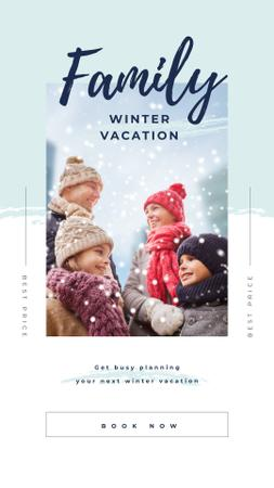 Parents with kids having fun in winter Instagram Story Modelo de Design