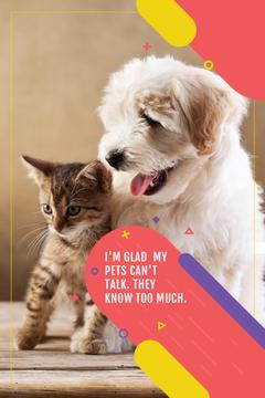 Pets Quote with Cute Dog and Cat