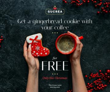 Christmas Offer Hands with Coffee Cup and Gingerbread