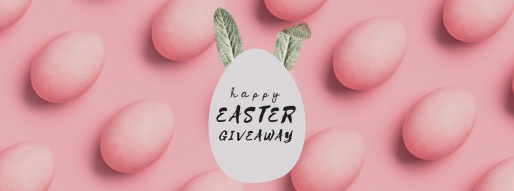 Easter eggs with bunny ears in pink — Modelo de projeto