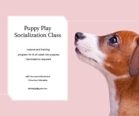 Ontwerpsjabloon van Medium Rectangle van Puppy play socialization class