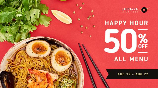 Designvorlage Asian Cuisine Dish with Noodles für FB event cover