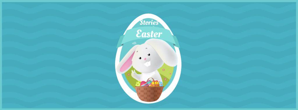 Cartoon Easter bunny with colored eggs — Crea un design