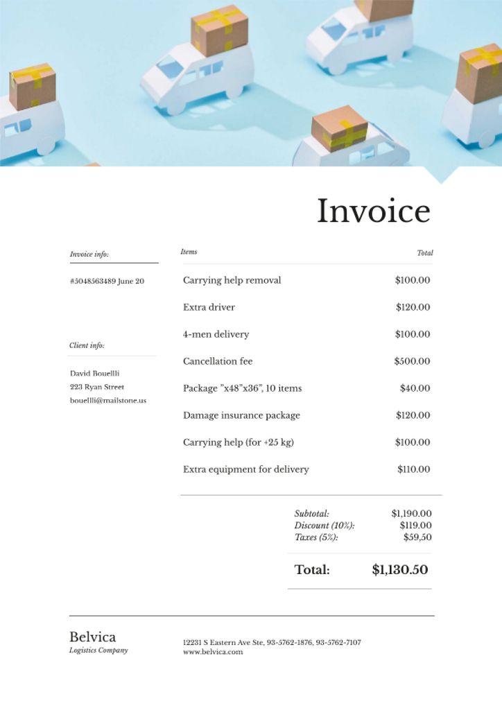 Logistics Company bill with trucks pattern Invoice Modelo de Design