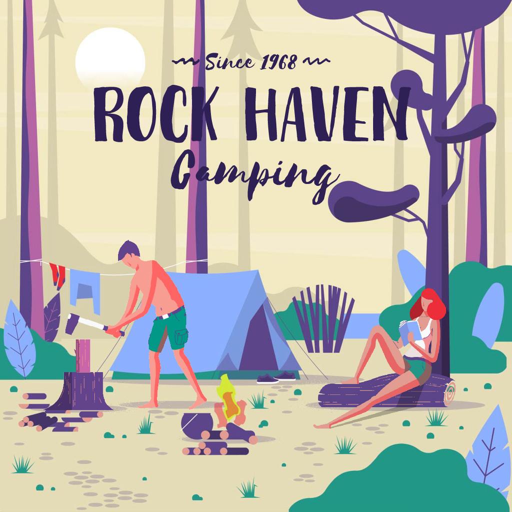 People camping in forest — ein Design erstellen