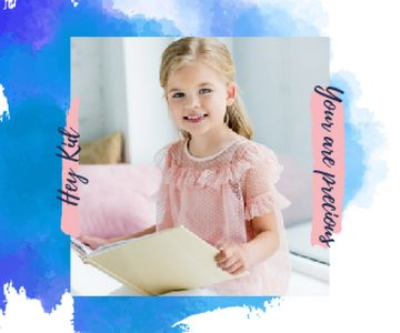 Little Smiling Girl Reading | Large Rectangle Template