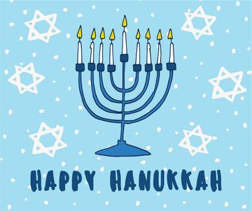 Happy Hanukkah Greeting with Menorah and Star of David