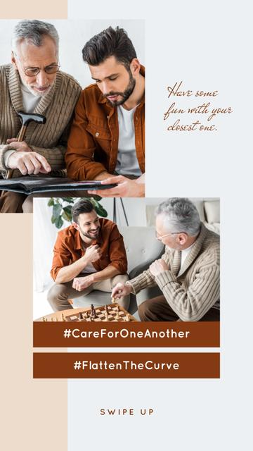 Plantilla de diseño de #CareForOneAnother Son playing chess with his Elder Father Instagram Story