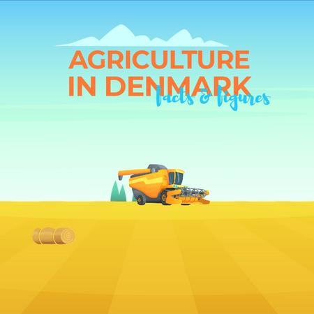 Harvester working in field Animated Post Modelo de Design