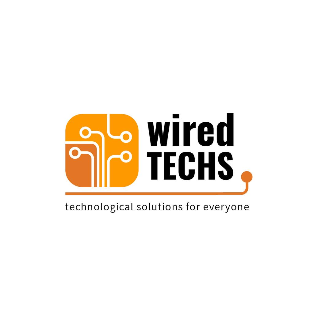 Tech Solutions Ad with Wires Icon in Orange — Modelo de projeto
