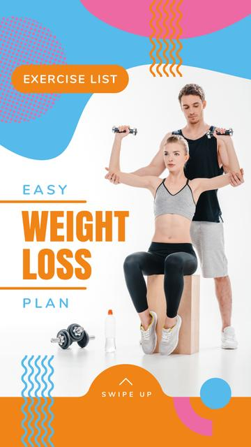 Weight Loss Program Ad with Coach and Exercising Woman Instagram Story Modelo de Design
