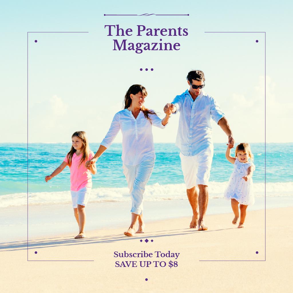 Parents with kids having fun at seacoast — Crea un design