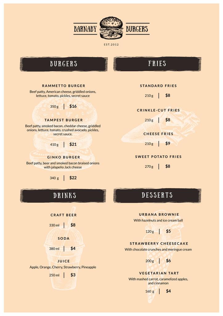 Burger Restaurant dishes — ein Design erstellen