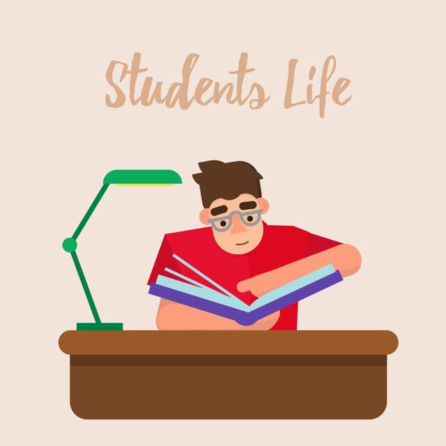 Smart student rising his hand Animated Post Modelo de Design