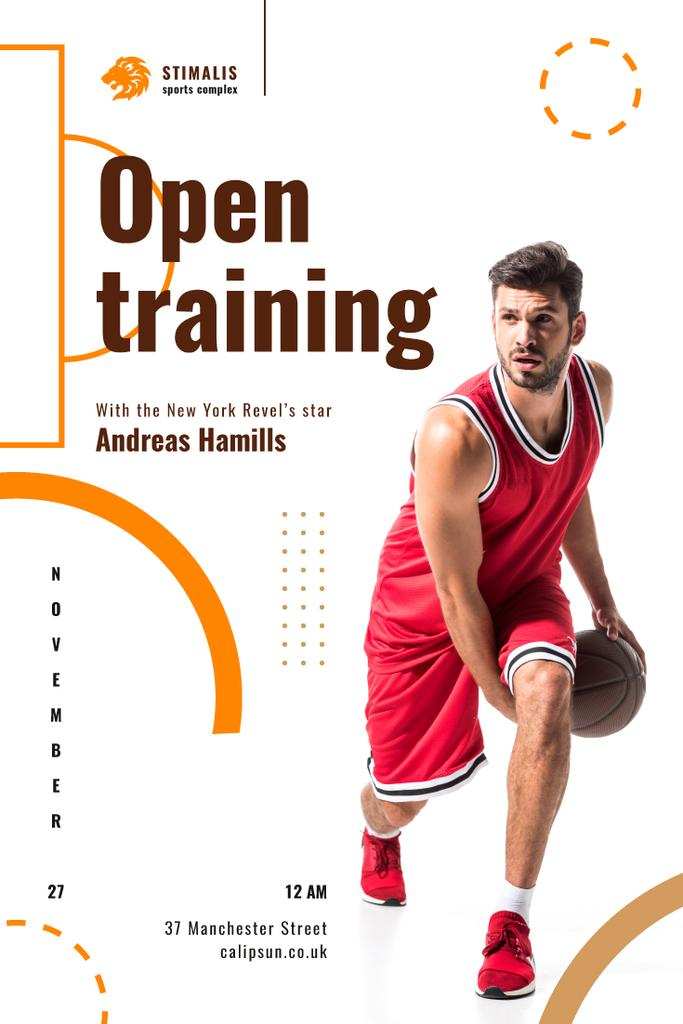 Open Training Announcement with Basketball Player in Red — Crear un diseño