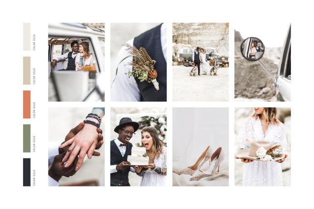 Modèle de visuel Stylish Wedding couple celebrating - Mood Board