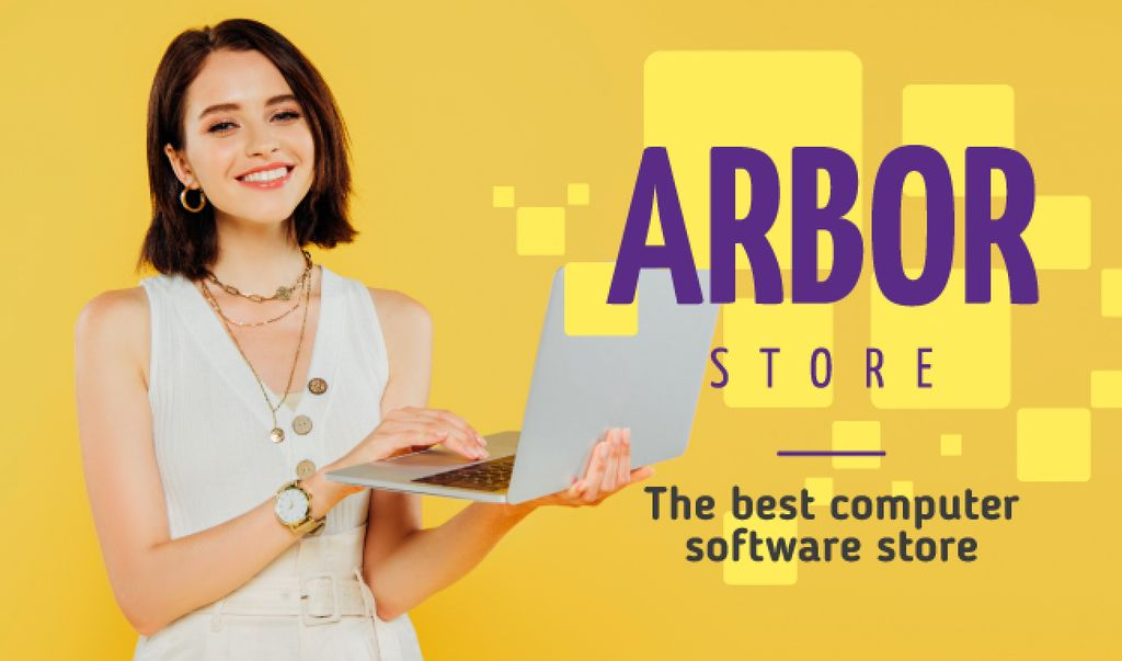 Software Store Ad Woman with Laptop — Create a Design