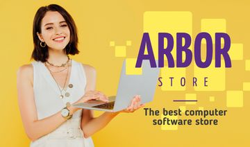 Software Store Ad Woman with Laptop