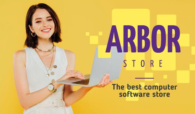 Plantilla de diseño de Software Store Ad Woman with Laptop Business card