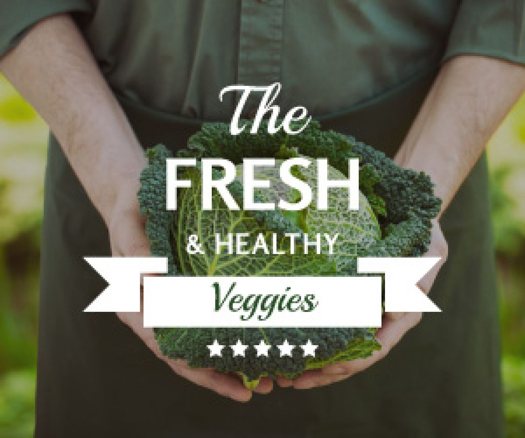 Healthy Food Farmer Holding Green Cabbage — Create a Design