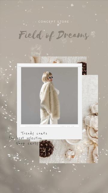 Template di design Fashion Ad Woman in Fur Coat Instagram Video Story