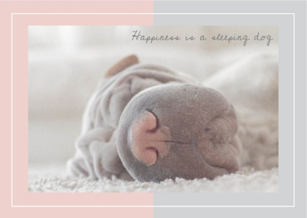 Cute Sleeping dog card — Crear un diseño