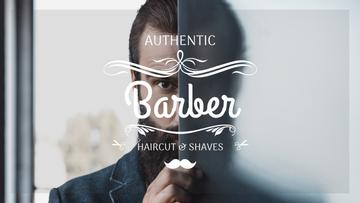 Barbershop Ad Man with Beard and Mustache | Youtube Channel Art