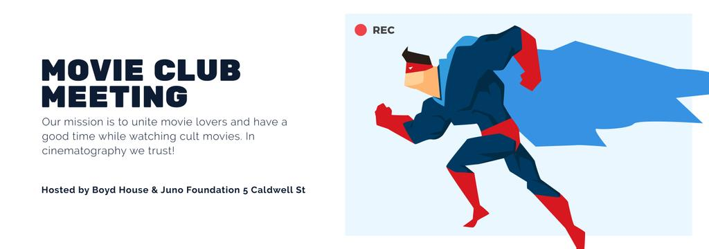 Movie Club Meeting Man in Superhero Costume — Crea un design