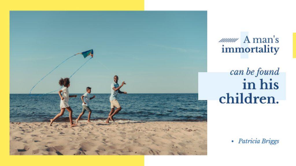 Father with Kids having fun at seacoast — Crear un diseño