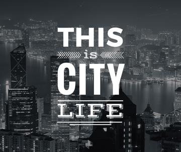 City life banner with skyscrapers