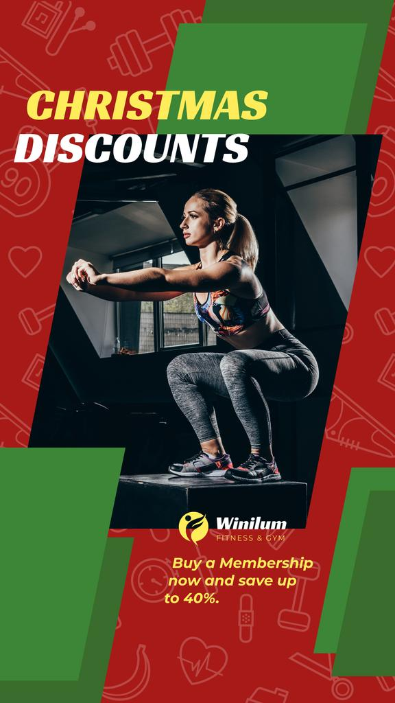 Christmas Offer Woman Squating in Gym — Crear un diseño