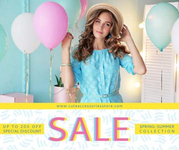 Fashion sale ad Woman holding colorful balloons
