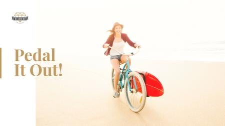 Template di design Young woman riding bicycle on seashore Presentation Wide
