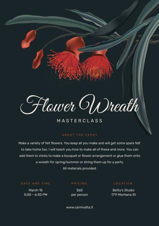 Masterclass of Flower Wreath making Annoucement Poster Modelo de Design