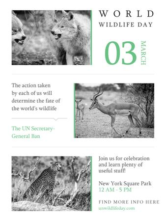 Plantilla de diseño de World Wildlife Day Animals in Natural Habitat Poster US