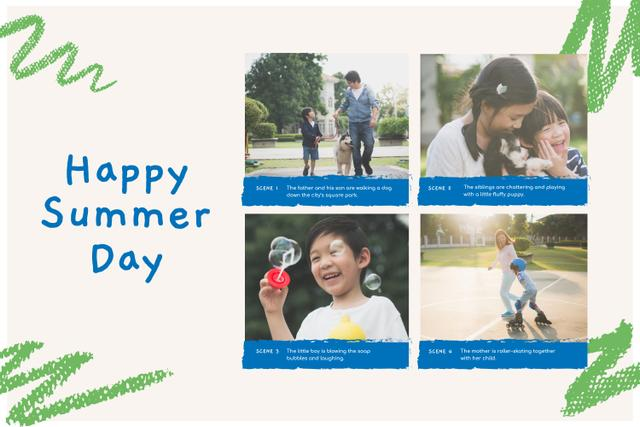 Family on Happy Summer Day Storyboard Modelo de Design