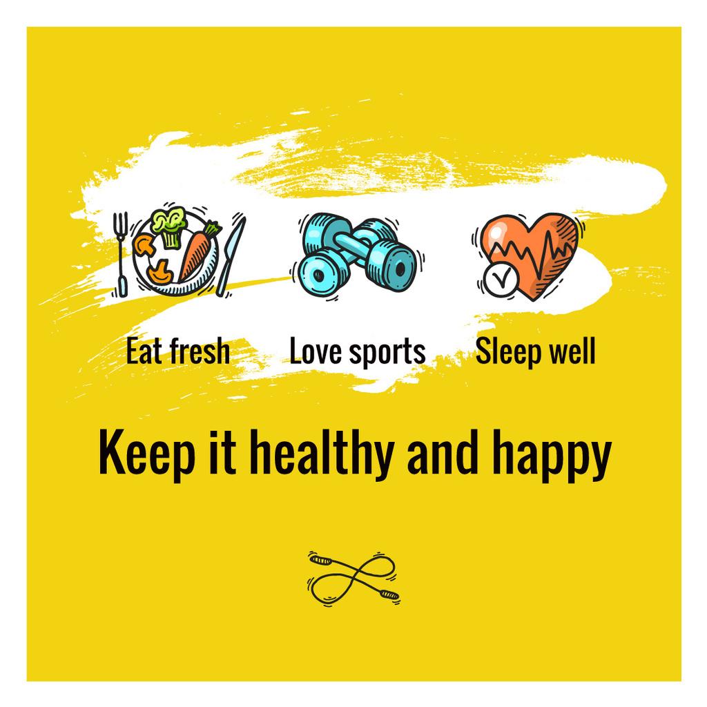 Healthy lifestyle Concept on Yellow — Maak een ontwerp