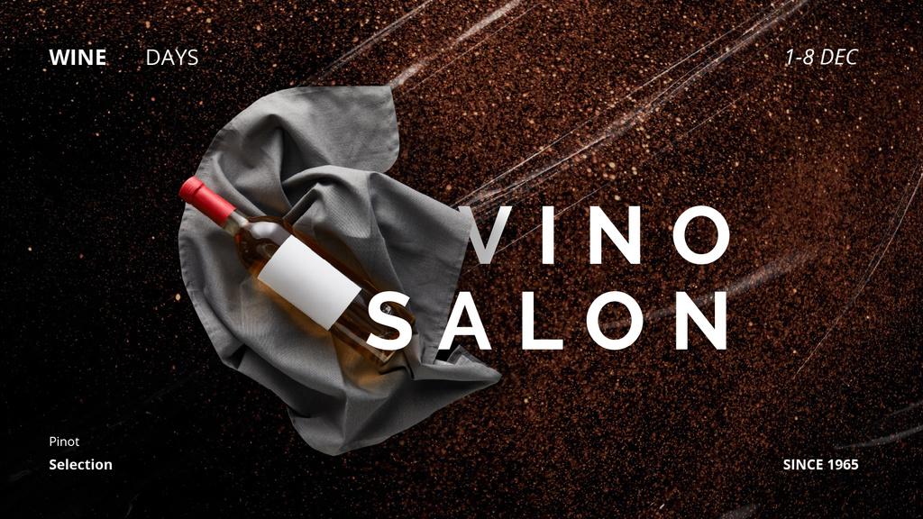 Wine Shop Ad with Bottle on Ribbon — Maak een ontwerp