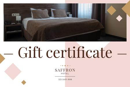 Hotel Offer with Cozy Bedroom Interior Gift Certificateデザインテンプレート